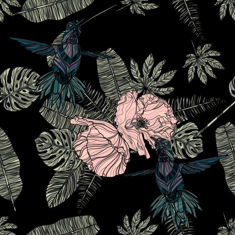 热带叶子、鸦片和蜂鸟无缝的样式 皇族释放例证