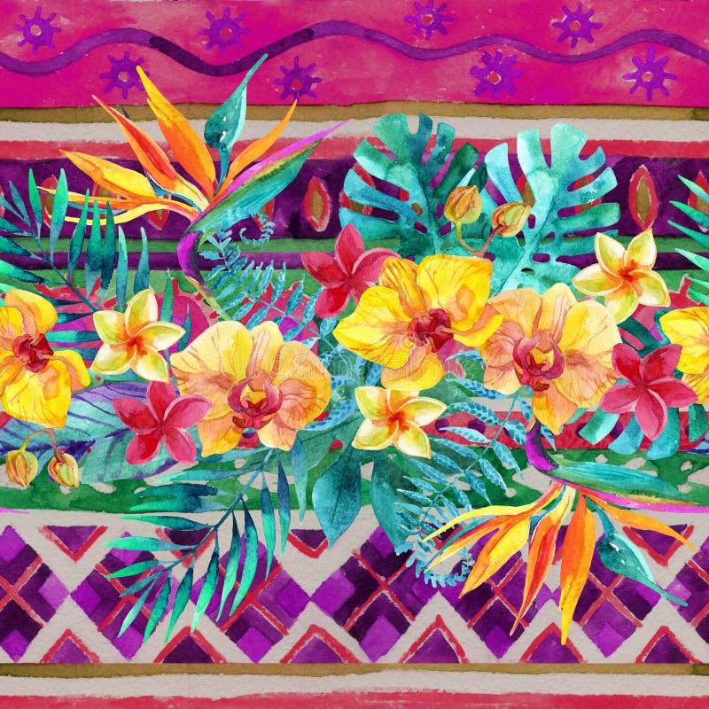 热带叶子和花在装饰背景 您背景设计花卉的例证 库存例证