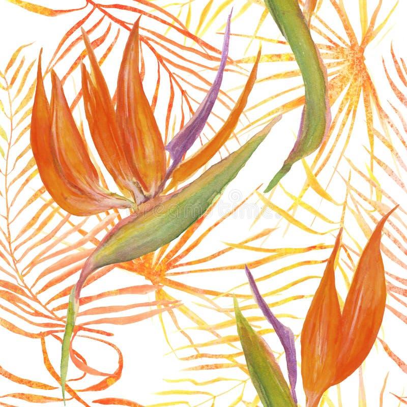 热带叶子和花的无缝的样式 向量例证