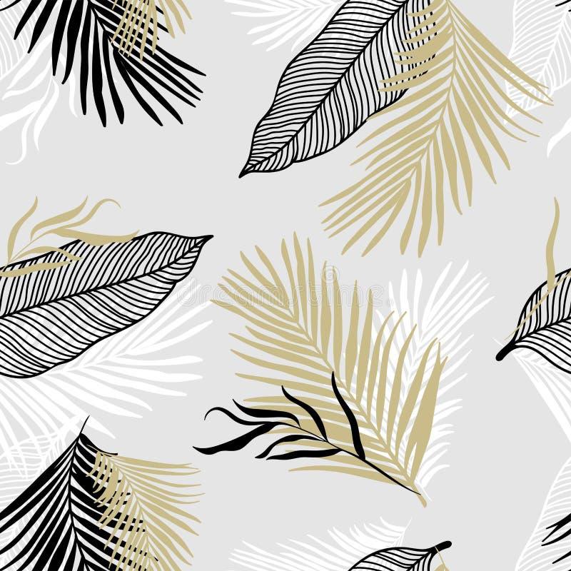 热带叶子无缝的样式-典雅的金子,黑白叶子-伟大为纺织品,织品,墙纸,横幅,卡片 向量例证