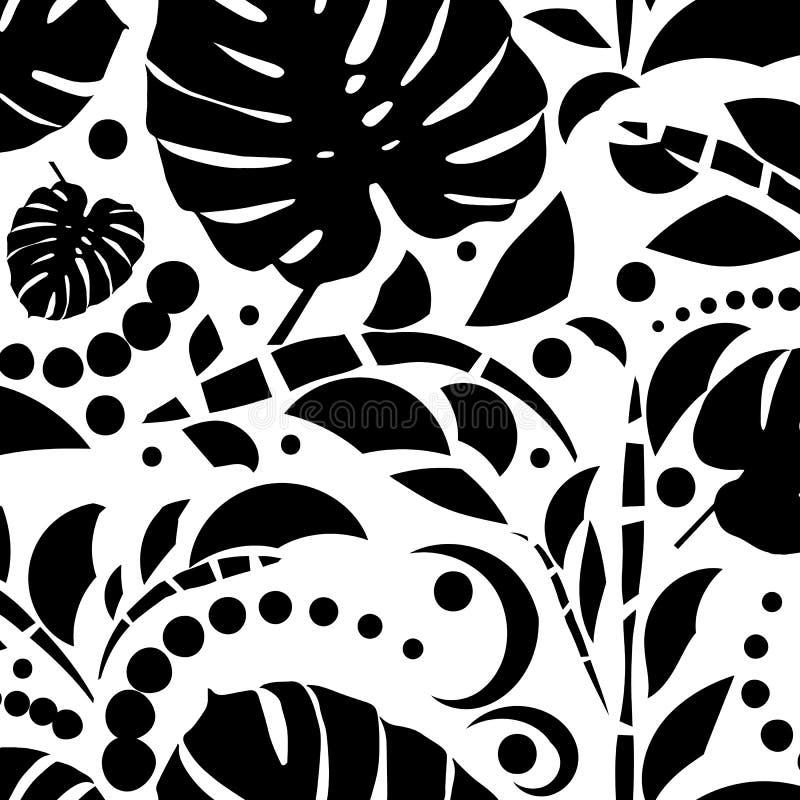 热带叶子无缝的样式 Monstera叶子 黑色白色 向量例证