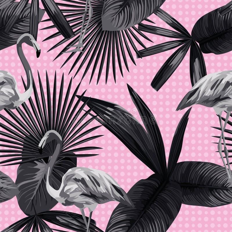 热带叶子无缝的火鸟背景圈子黑色白色 库存例证