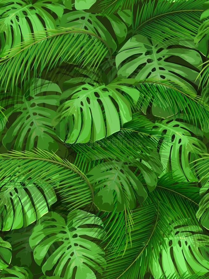 热带叶子无缝的背景  皇族释放例证