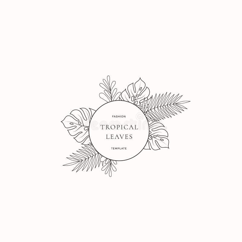 热带叶子时尚精品店标志或商标模板 与圈子边界的抽象Monstera叶子和优等 皇族释放例证