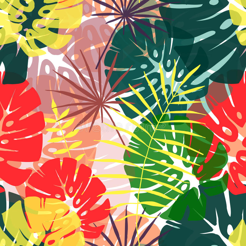 热带叶子的无缝的样式 皇族释放例证