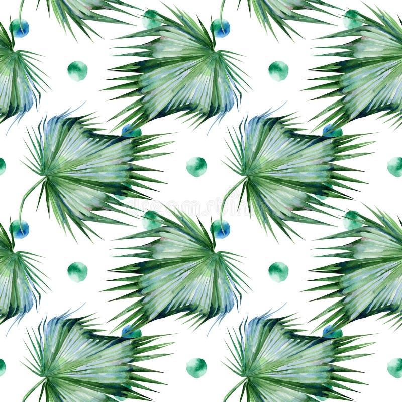 热带叶子的无缝的水彩例证,密集的密林 皇族释放例证