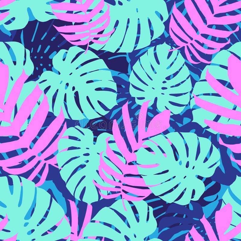 热带叶子,密林monstera叶子无缝的花卉样式背景 向量例证, eps 10 向量例证