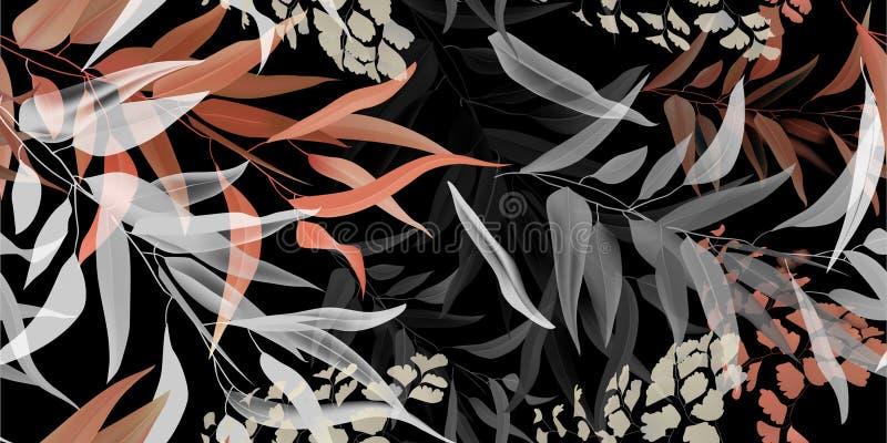 热带叶子,无缝的样式,淡色shadeson黑暗 向量例证