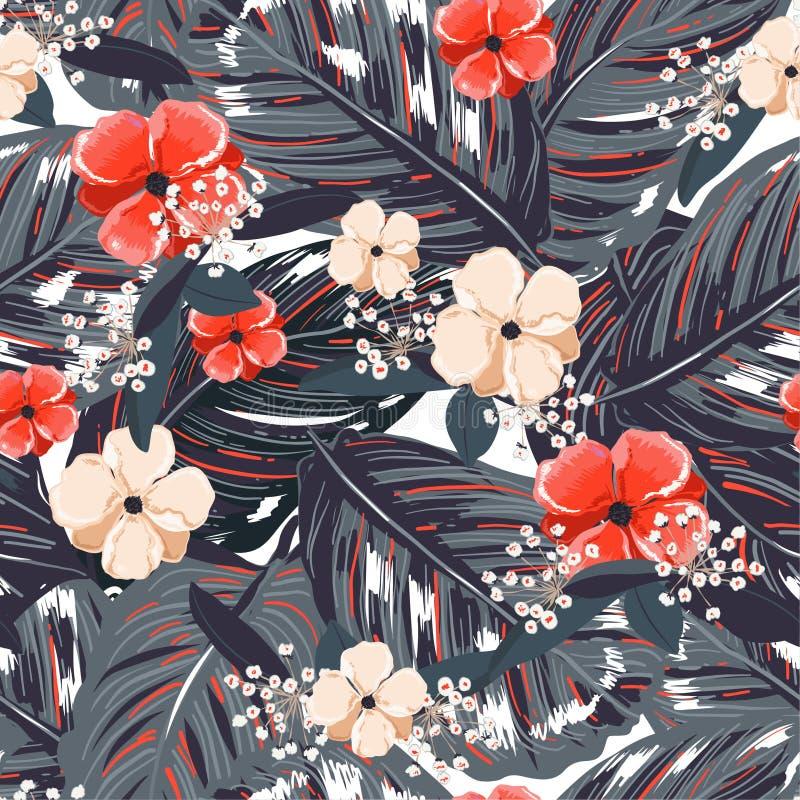 热带叶子,有红色花背景 在传染媒介的花卉无缝的样式 Greenary热带例证 r 皇族释放例证