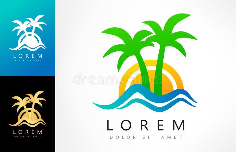 热带商标传染媒介 棕榈树,波浪,太阳 库存例证