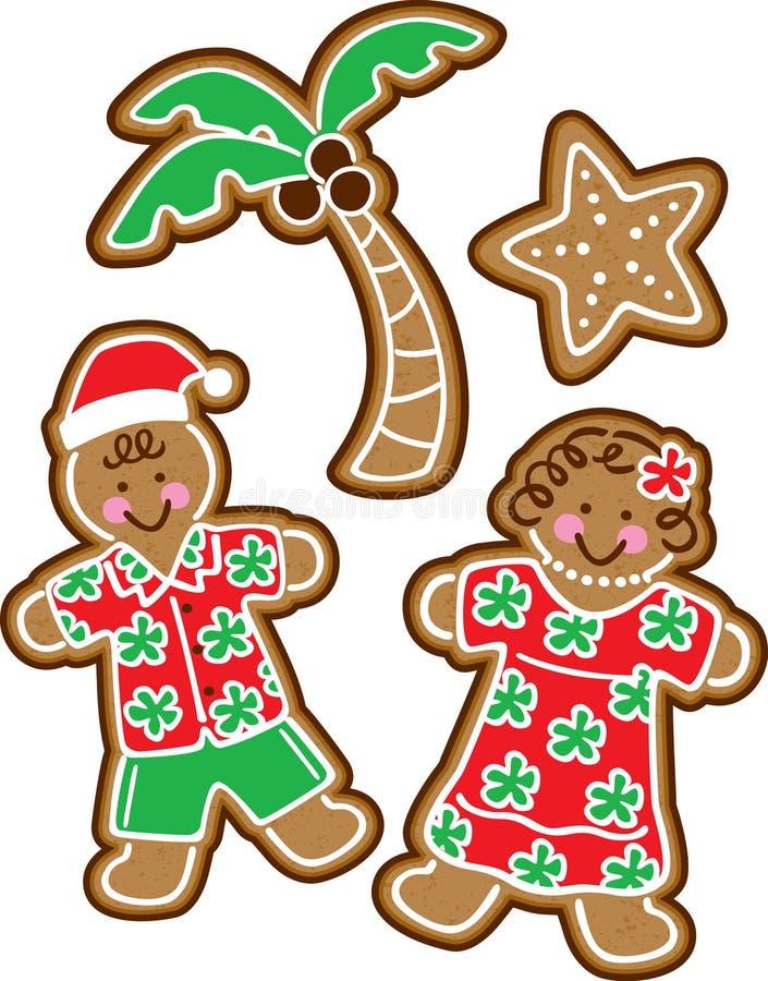热带圣诞节的曲奇饼 向量例证