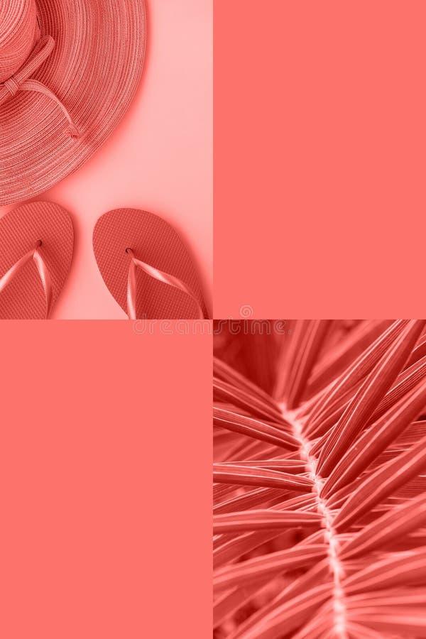 热带在时髦珊瑚颜色的海滩假期旅行的拼贴画与文本的拷贝空间 端庄的妇女草帽拖鞋棕榈 免版税库存图片