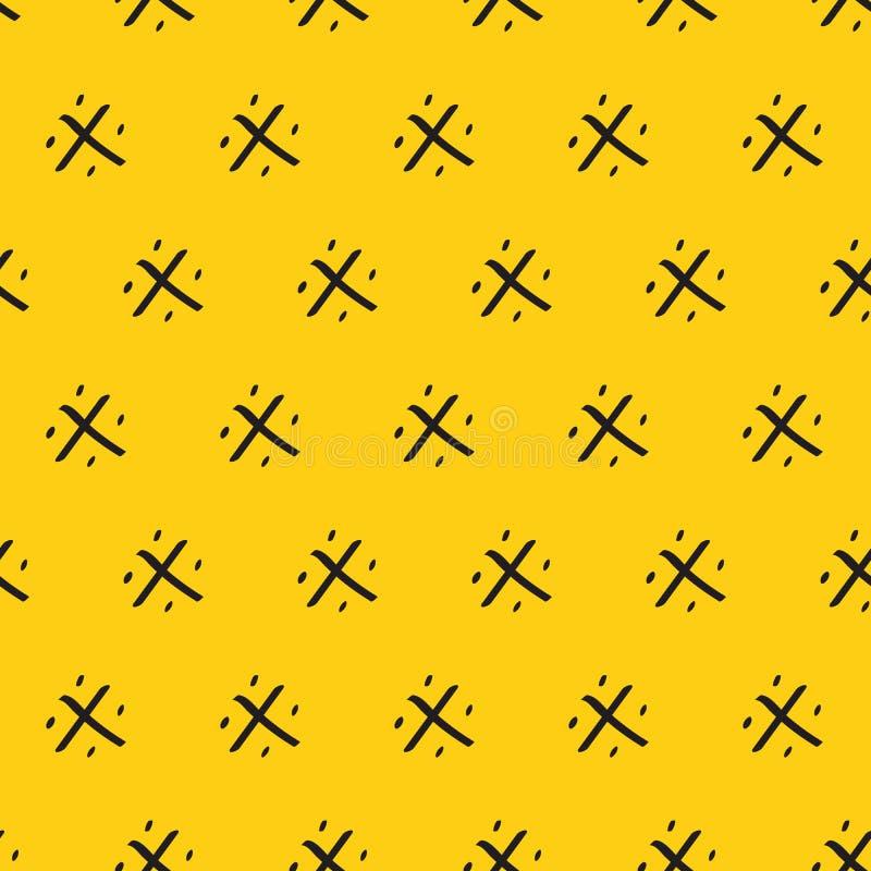 热带夏天无缝的背景 黄色样式摘要黑色手拉的装饰品菠萝华丽传染媒介 皇族释放例证