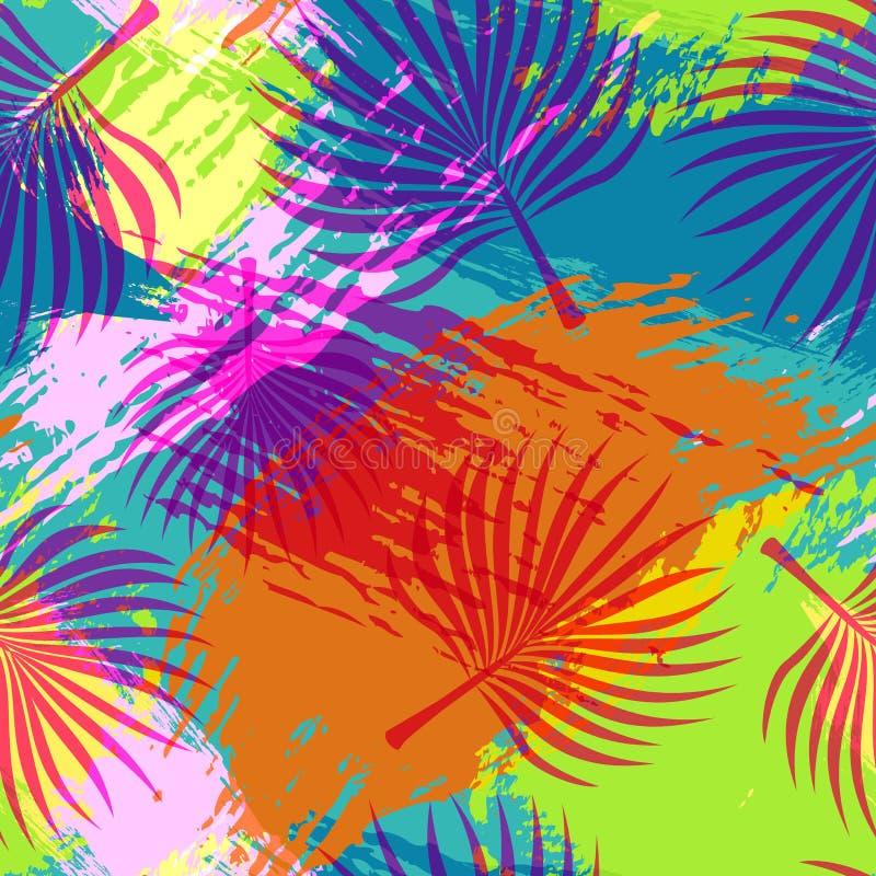 热带夏天样式摘要棕榈叶艺术 库存例证