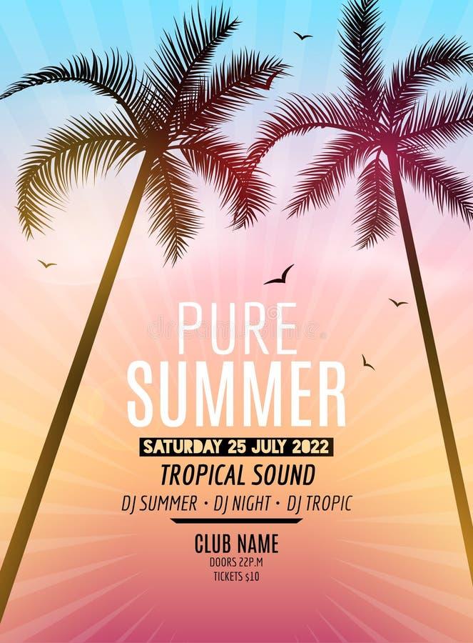 热带夏天海滩党 热带暑假和旅行 热带海报五颜六色的背景和棕榈异乎寻常的海岛 皇族释放例证