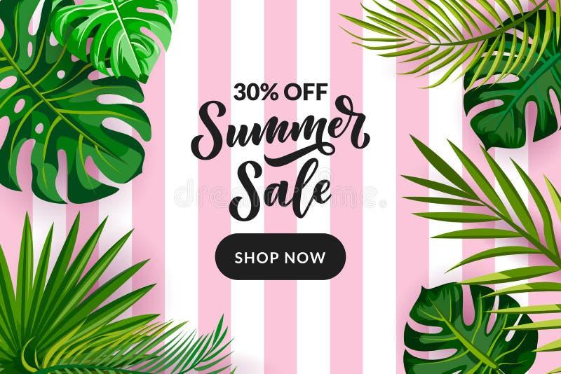 热带夏天销售横幅,飞行物,海报设计模板 在桃红色镶边背景的棕榈叶 r 向量例证