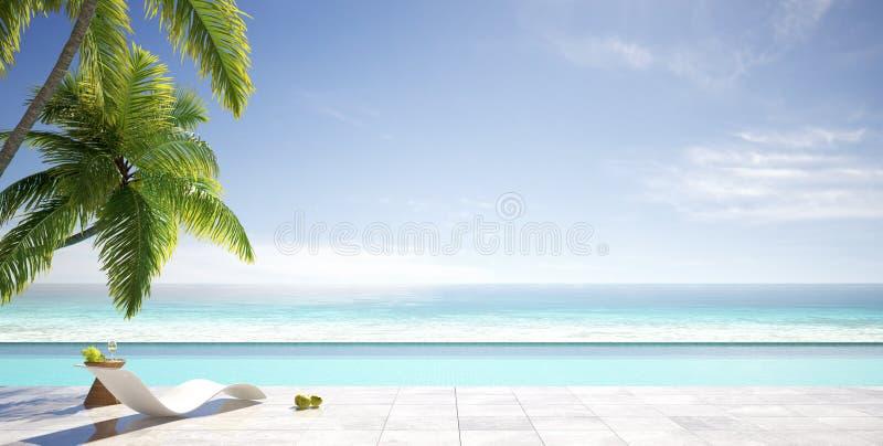 热带夏天,有棕榈树的海滩休息室,豪华别墅的游泳场,夏天概念 图库摄影