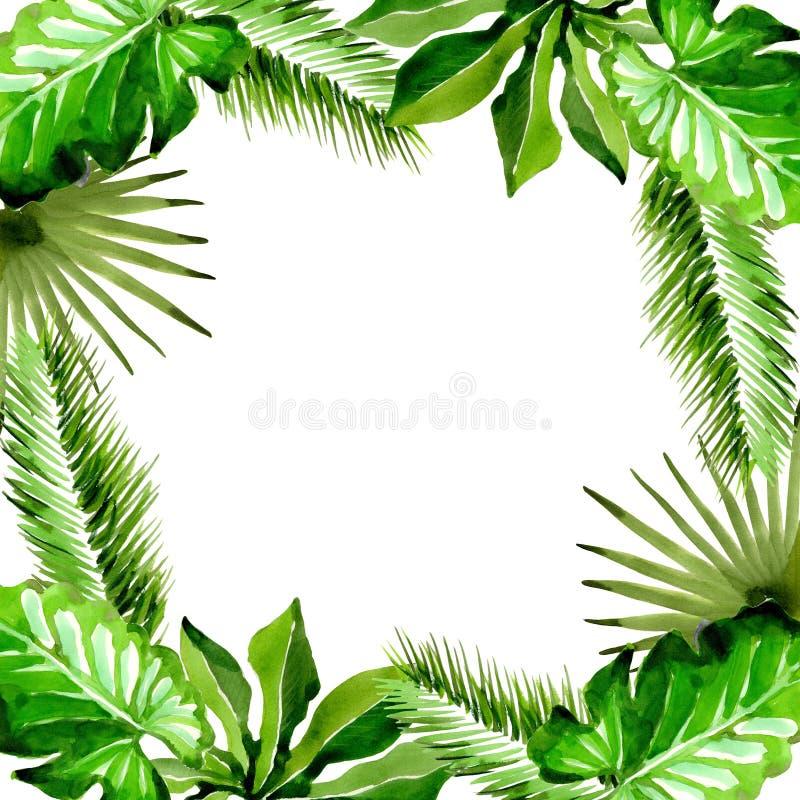 热带夏威夷在水彩样式把棕榈树框架留在 库存照片