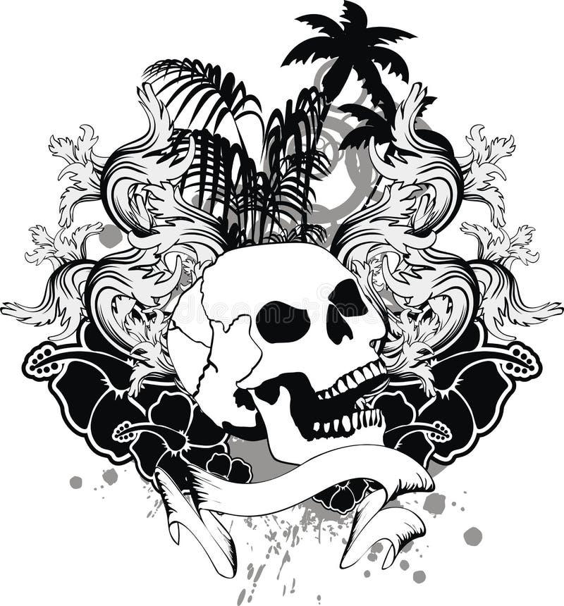 热带夏威夷头骨纹身花刺丝带 向量例证