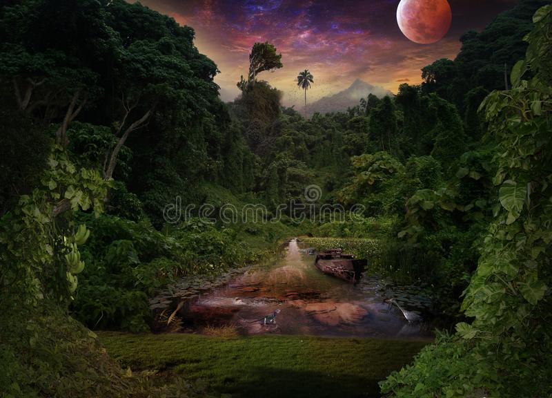 热带夜在密林 莲花、苍鹭、河马和l 免版税库存照片