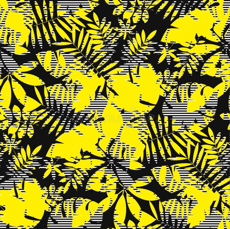 热带密林叶子无缝的样式 库存例证