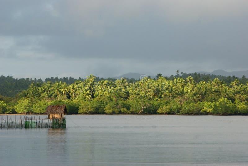 热带小屋当地土气场面的海景 图库摄影