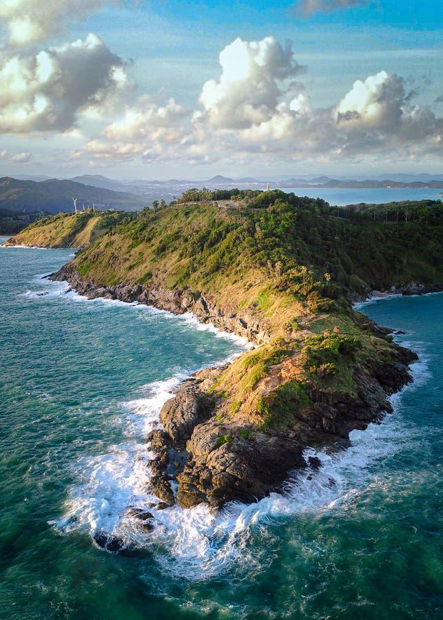 热带岛,蓬特角的空中景观 库存图片