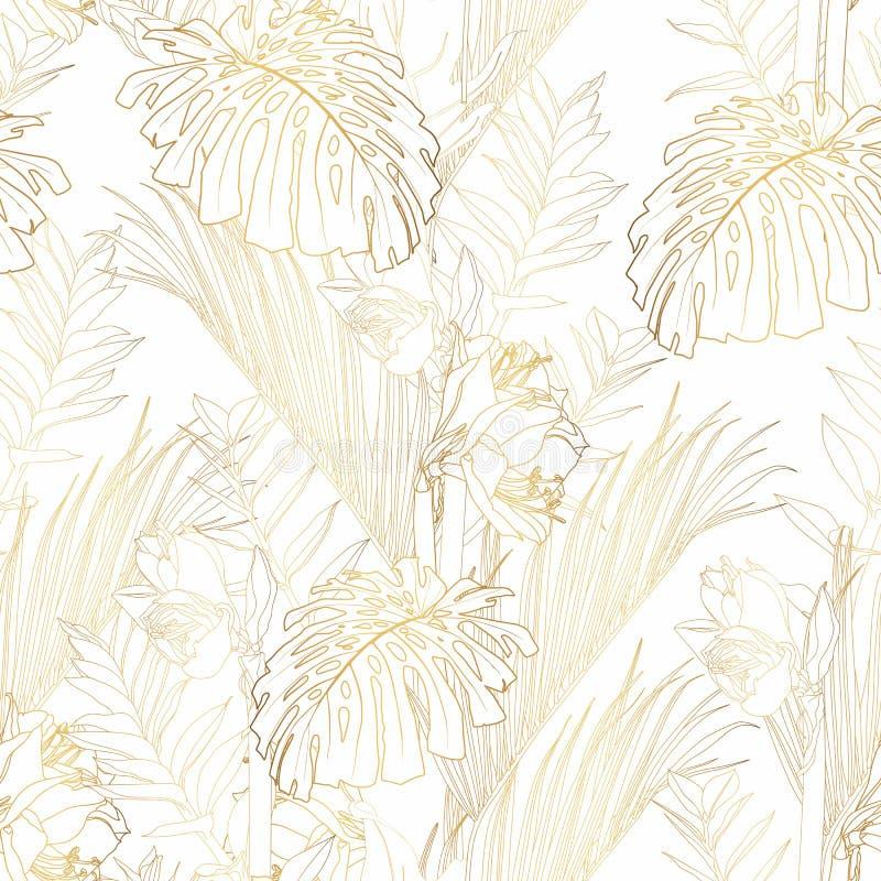 热带异乎寻常的花卉金黄线棕榈叶和花无缝的样式,白色背景 向量例证