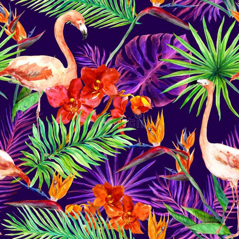 热带异乎寻常的叶子,兰花开花,霓虹灯 无缝的模式 水彩 免版税库存图片