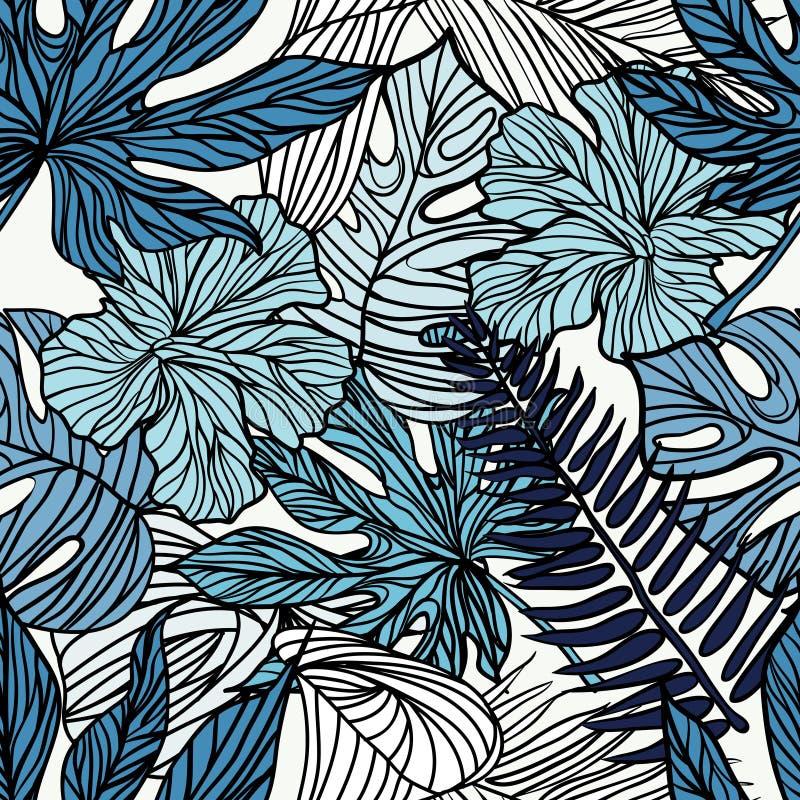热带异乎寻常的花和植物有棕榈绿色叶子的  皇族释放例证