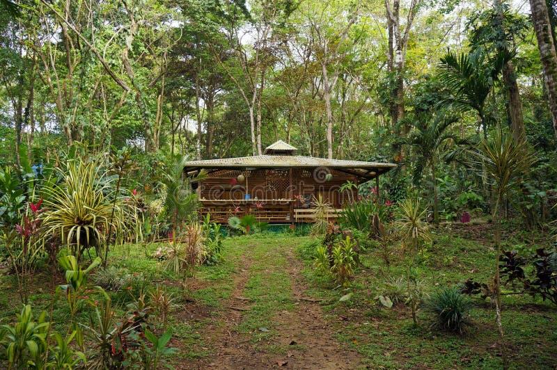 热带房子在哥斯达黎加的密林 图库摄影