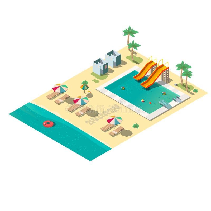 热带手段海滩等量传染媒介地图部分 皇族释放例证