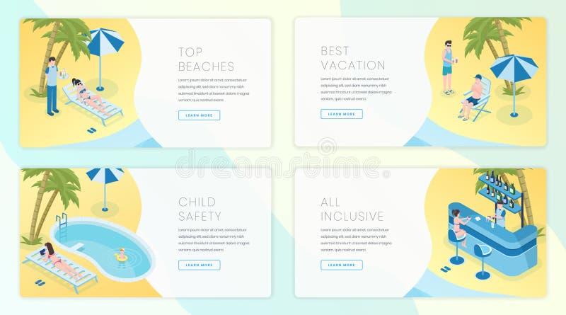 热带手段登陆的页模板集合 旅行业,夏天旅游业企业网站主页接口想法 皇族释放例证