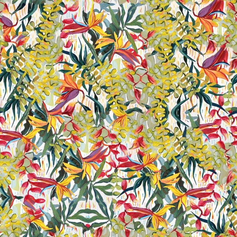 热带摄影样式 在画布的油画 免版税库存照片