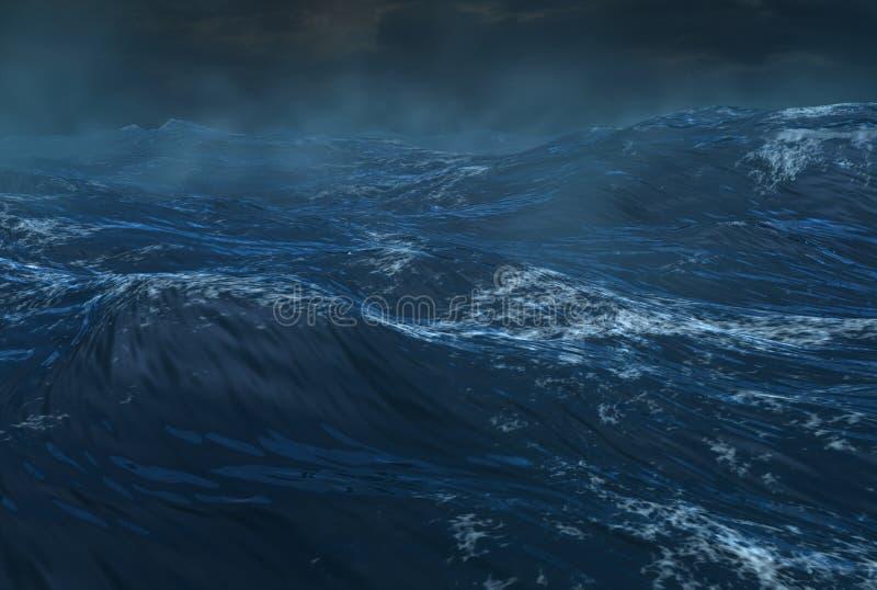 热带旋风的海洋 皇族释放例证