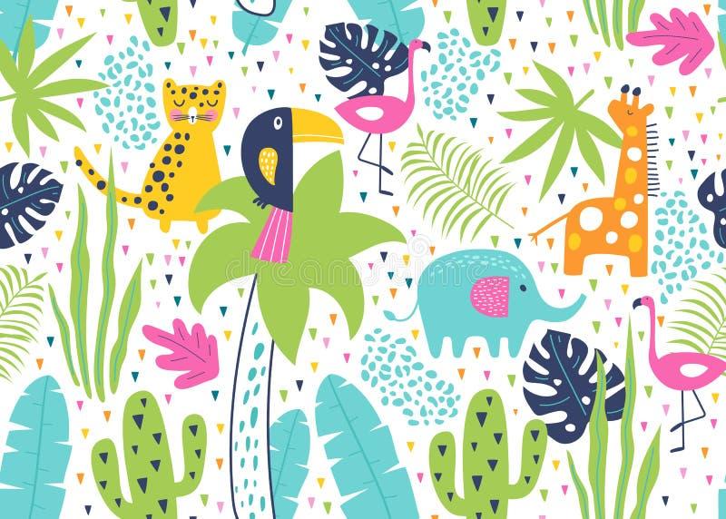 热带无缝图案,有头鱼、火烈鸟、老虎、大象、长颈鹿、仙人掌和异国叶 矢量 免版税图库摄影