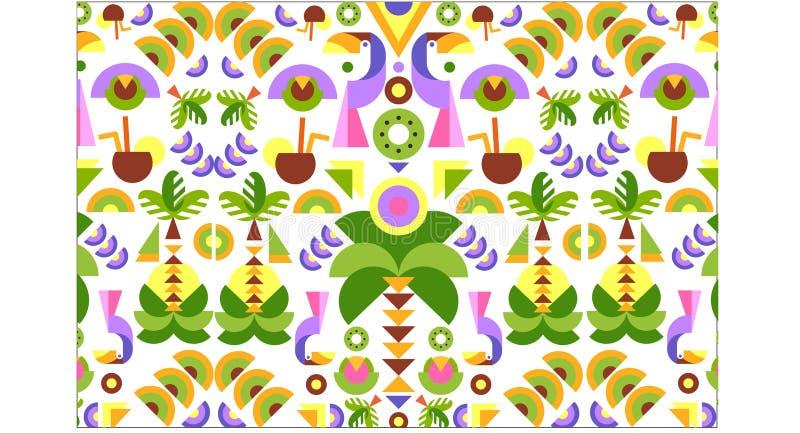 热带无缝的印刷品样式,明亮的时髦夏天设计用异乎寻常的果子,叶子,鸟,五颜六色的传染媒介 皇族释放例证