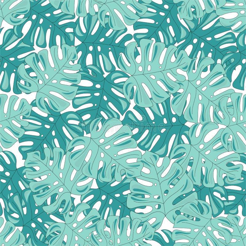 热带无缝的样式五颜六色的传染媒介热带叶子 皇族释放例证