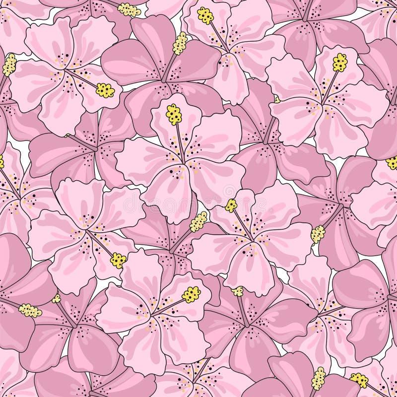 热带无缝的样式五颜六色的传染媒介热带花 皇族释放例证