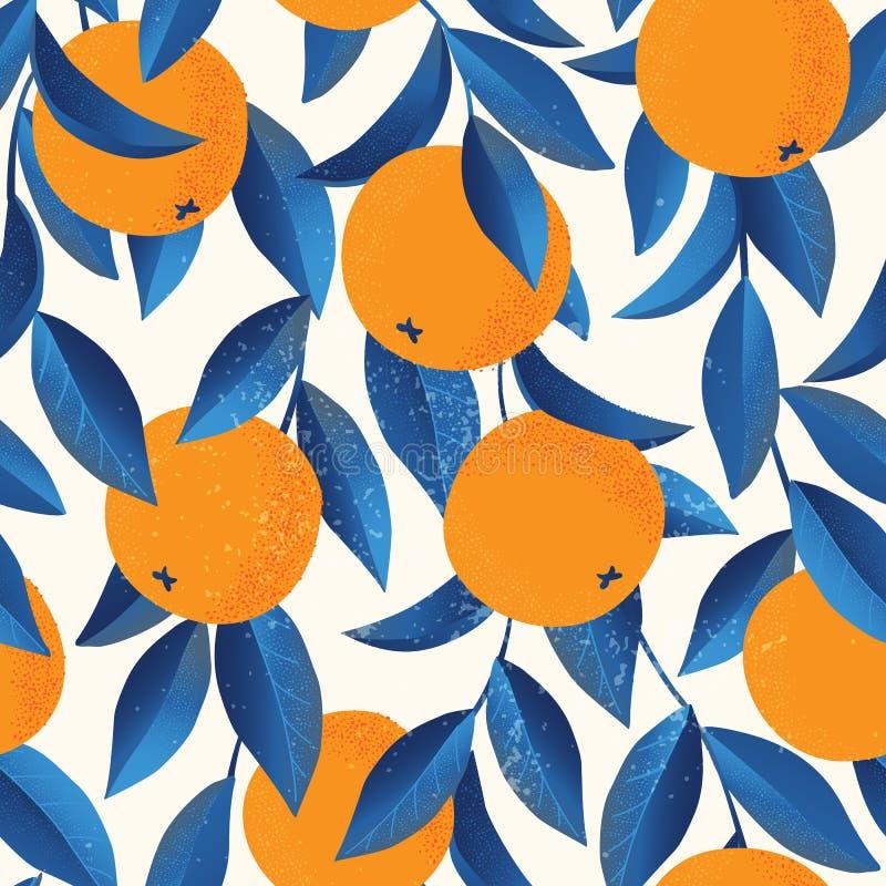 热带无缝的样式用桔子 果子重复的背景 织品或墙纸的传染媒介明亮的印刷品 皇族释放例证