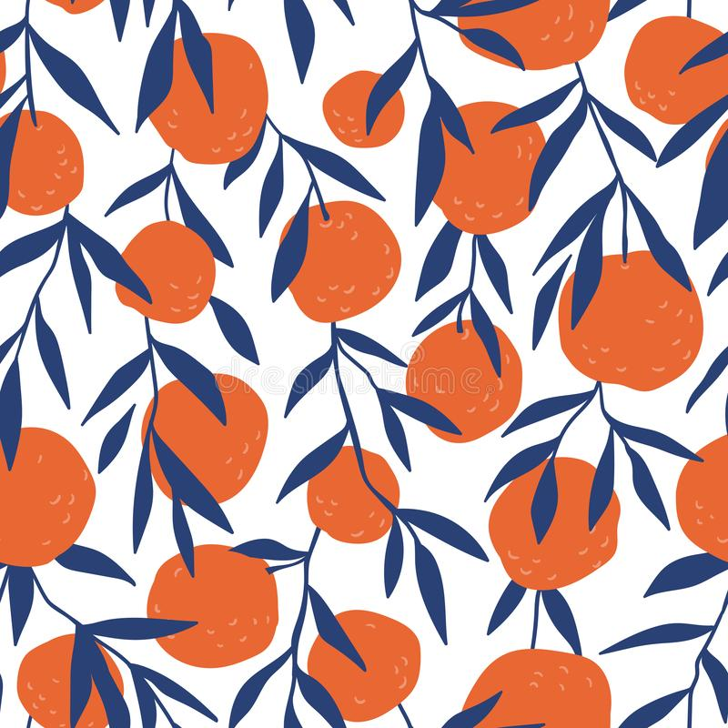 热带无缝的样式用红色桔子 切的背景剪切果子半菠萝 织品或墙纸的传染媒介明亮的印刷品 库存例证