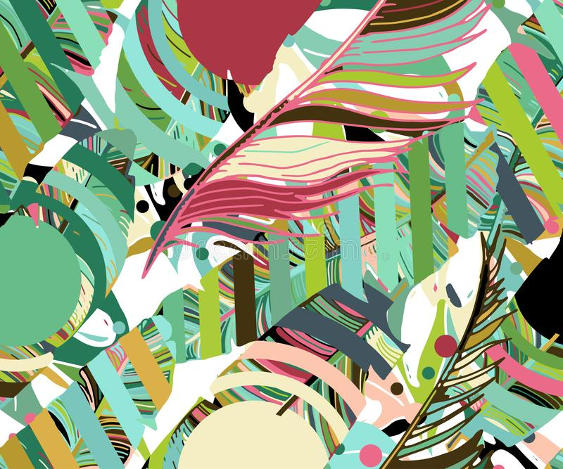 热带无缝的背景 手拉的逗人喜爱的样式机智 库存例证
