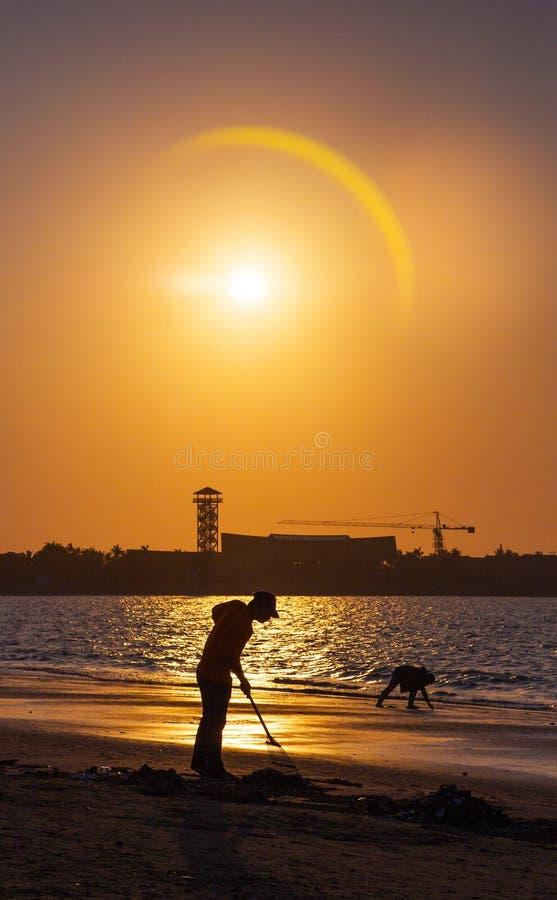 热带日出的美丽的阴影 库存照片
