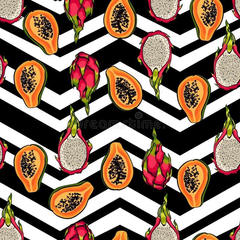 热带样式用番木瓜 无缝的传染媒介印刷品用异乎寻常的果子 夏天五颜六色的纺织品纹理 向量例证