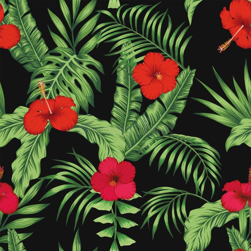 热带样式离开花无缝的黑背景 向量例证