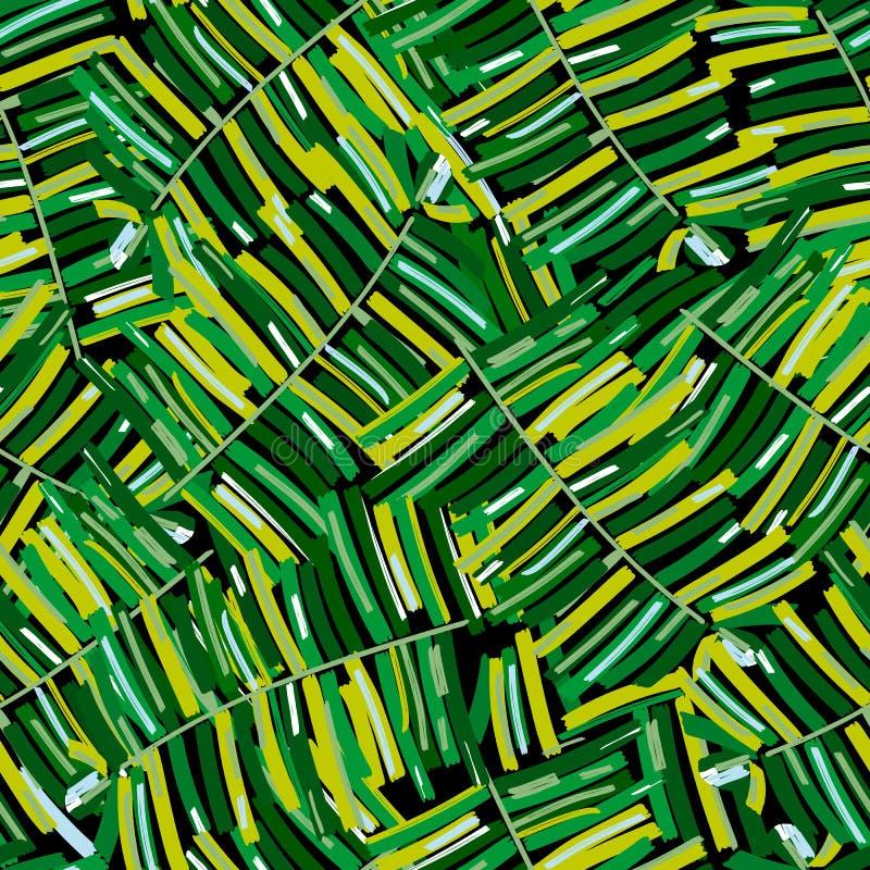热带样式,棕榈叶无缝的传染媒介花卉背景 异乎寻常的工厂 向量例证