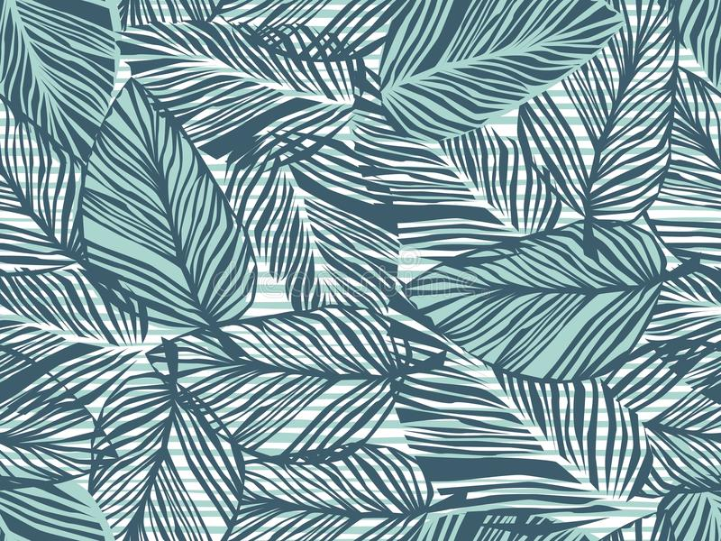 热带样式,棕榈叶无缝的传染媒介花卉背景 条纹印刷品例证的异乎寻常的植物 夏天自然密林 向量例证