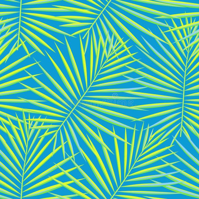 热带棕榈叶仿造无缝的背景 异乎寻常的时尚时髦花卉叶子样式 无缝的美丽的植物学棕榈 皇族释放例证
