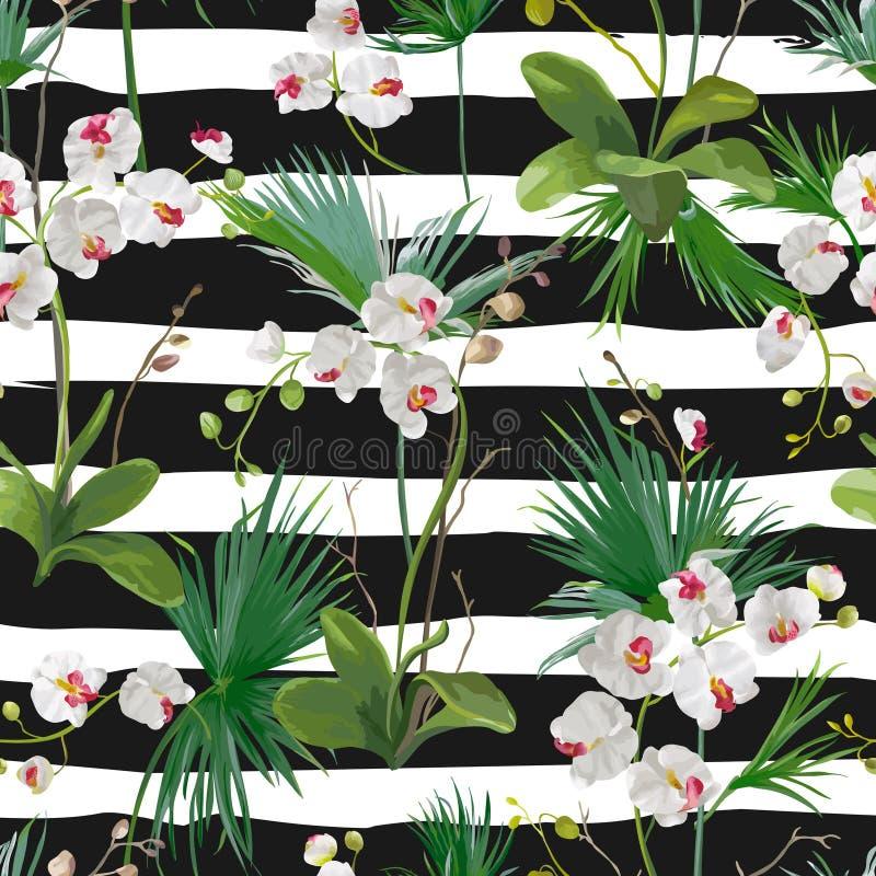 热带棕榈叶和兰花花背景 无缝的模式 库存例证