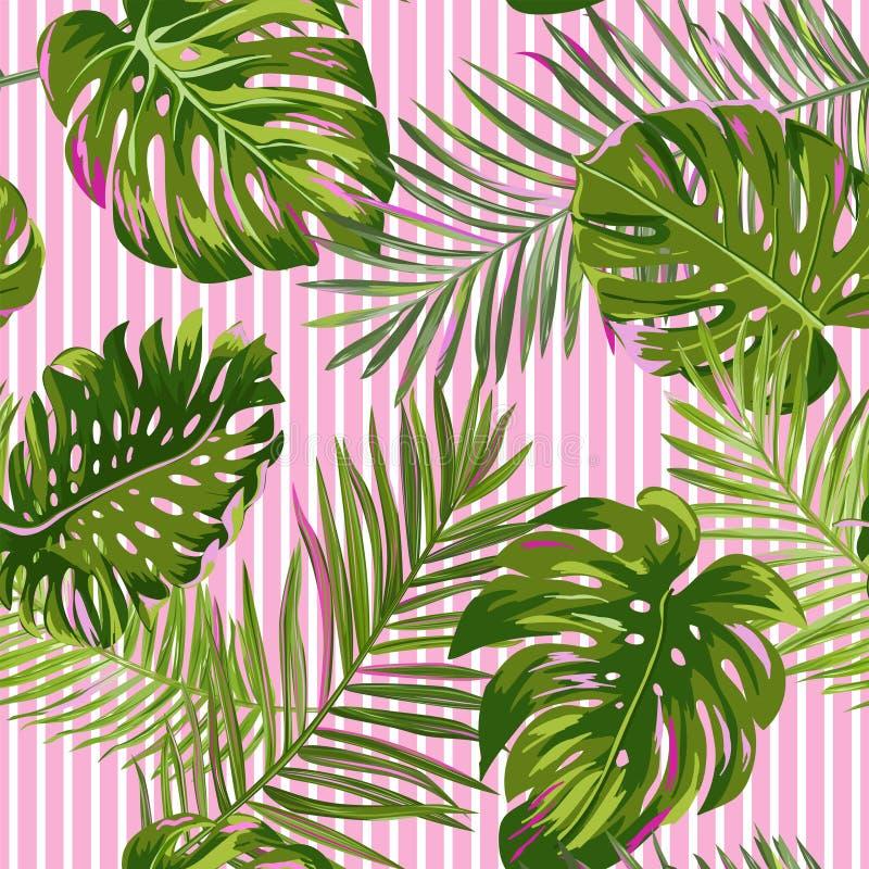 热带棕榈叶无缝的样式 水彩花卉背景 织品的,纺织品异乎寻常的植物的设计 向量例证
